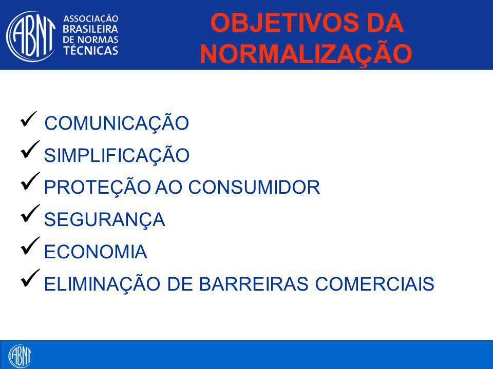 COMUNICAÇÃO SIMPLIFICAÇÃO PROTEÇÃO AO CONSUMIDOR SEGURANÇA ECONOMIA ELIMINAÇÃO DE BARREIRAS COMERCIAIS OBJETIVOS DA NORMALIZAÇÃO