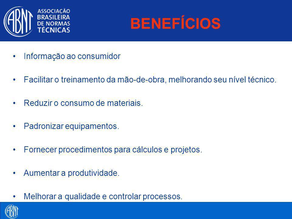 BENEFÍCIOS Informação ao consumidor Facilitar o treinamento da mão-de-obra, melhorando seu nível técnico. Reduzir o consumo de materiais. Padronizar e