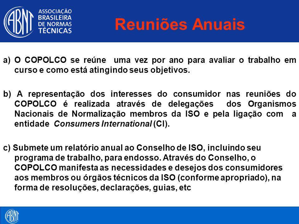 Reuniões Anuais a) O COPOLCO se reúne uma vez por ano para avaliar o trabalho em curso e como está atingindo seus objetivos. b) A representação dos in
