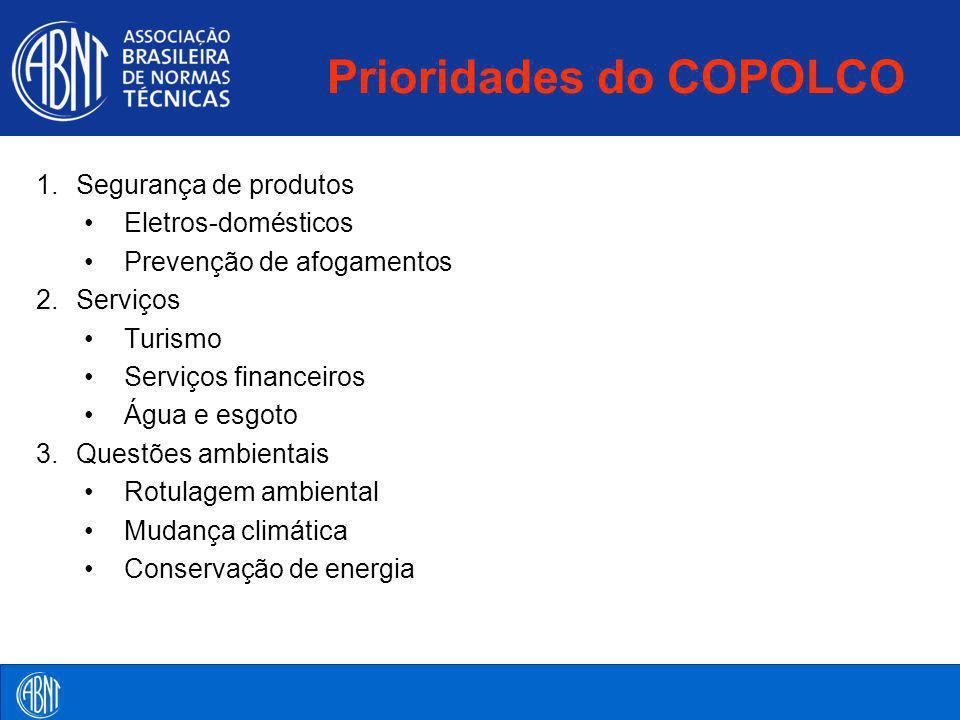 Prioridades do COPOLCO 1.Segurança de produtos Eletros-domésticos Prevenção de afogamentos 2.Serviços Turismo Serviços financeiros Água e esgoto 3.Que