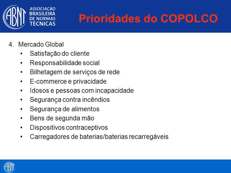 Prioridades do COPOLCO 4.Mercado Global Satisfação do cliente Responsabilidade social Bilhetagem de serviços de rede E-commerce e privacidade Idosos e