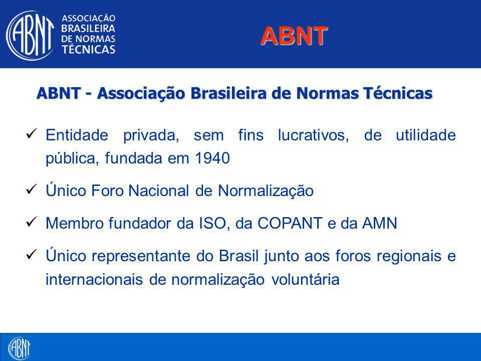 ABNT - Associação Brasileira de Normas Técnicas ABNT Entidade privada, sem fins lucrativos, de utilidade pública, fundada em 1940 Único Foro Nacional