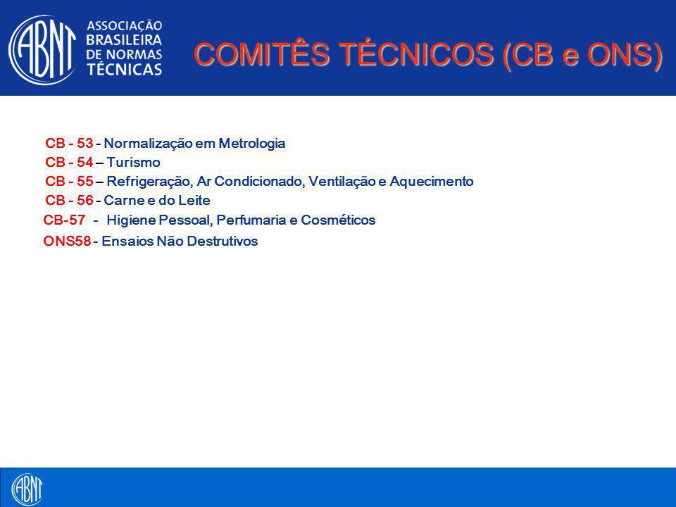 COMITÊS TÉCNICOS (CB e ONS) CB- 53 - Normalização em Metrologia CB- 54 – Turismo CB- 55 – Refrigeração, Ar Condicionado, Ventilação e Aquecimento CB-