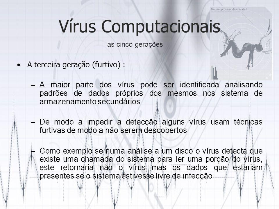Vírus Computacionais A terceira geração (furtivo) : –A maior parte dos vírus pode ser identificada analisando padrões de dados próprios dos mesmos nos