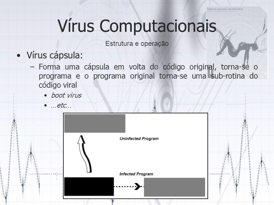 Vírus Computacionais Vírus cápsula: –Forma uma cápsula em volta do código original, torna-se o programa e o programa original torna-se uma sub-rotina do código viral boot virus …etc… Estrutura e operação