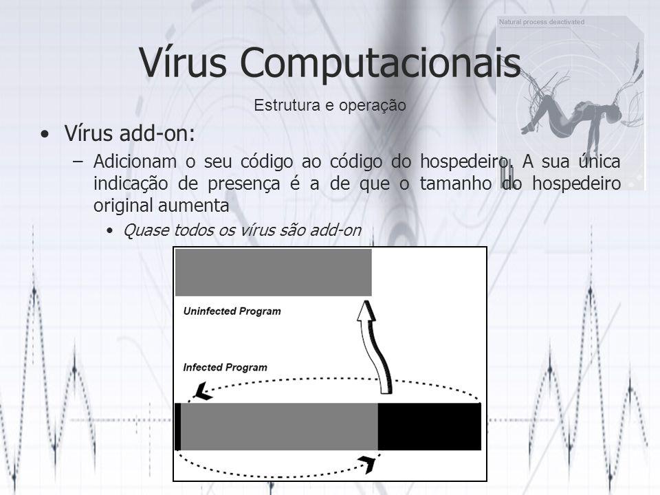 Vírus Computacionais Vírus add-on: –Adicionam o seu código ao código do hospedeiro. A sua única indicação de presença é a de que o tamanho do hospedei