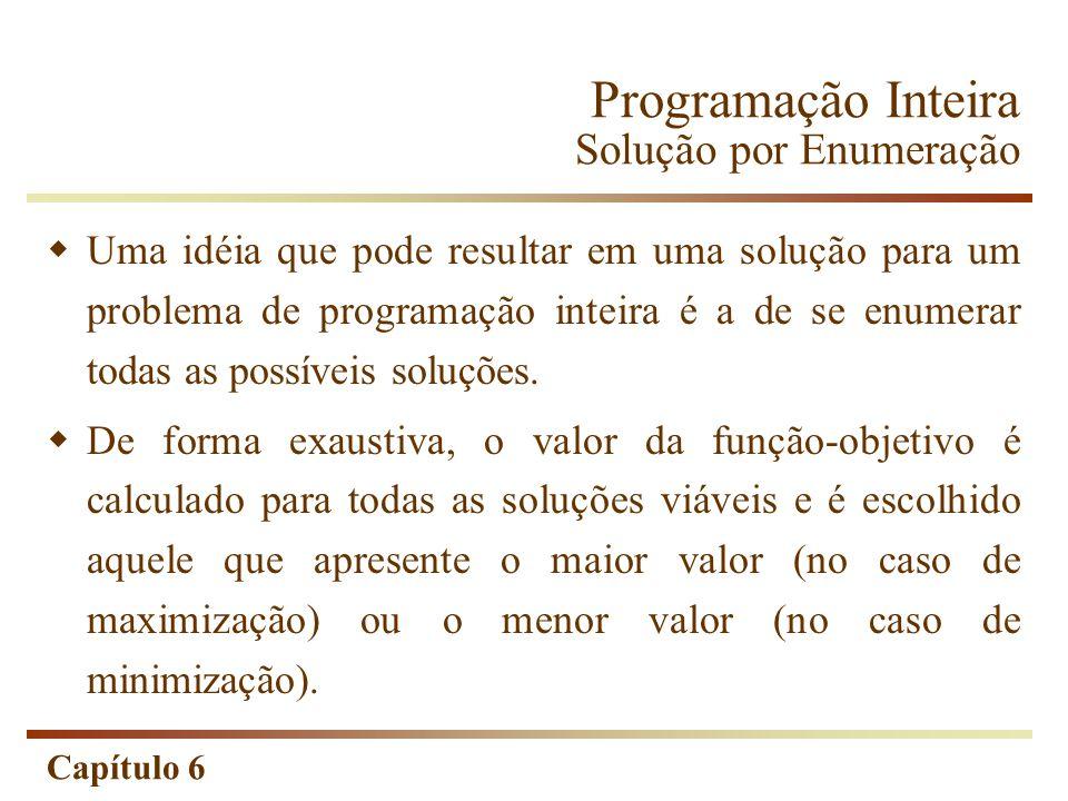 Capítulo 6 Programação Inteira Solução por Enumeração Uma idéia que pode resultar em uma solução para um problema de programação inteira é a de se enumerar todas as possíveis soluções.