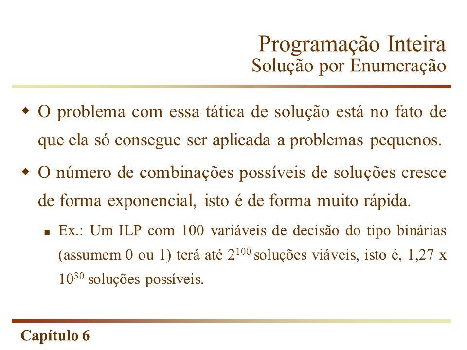 Capítulo 6 O problema com essa tática de solução está no fato de que ela só consegue ser aplicada a problemas pequenos. O número de combinações possív