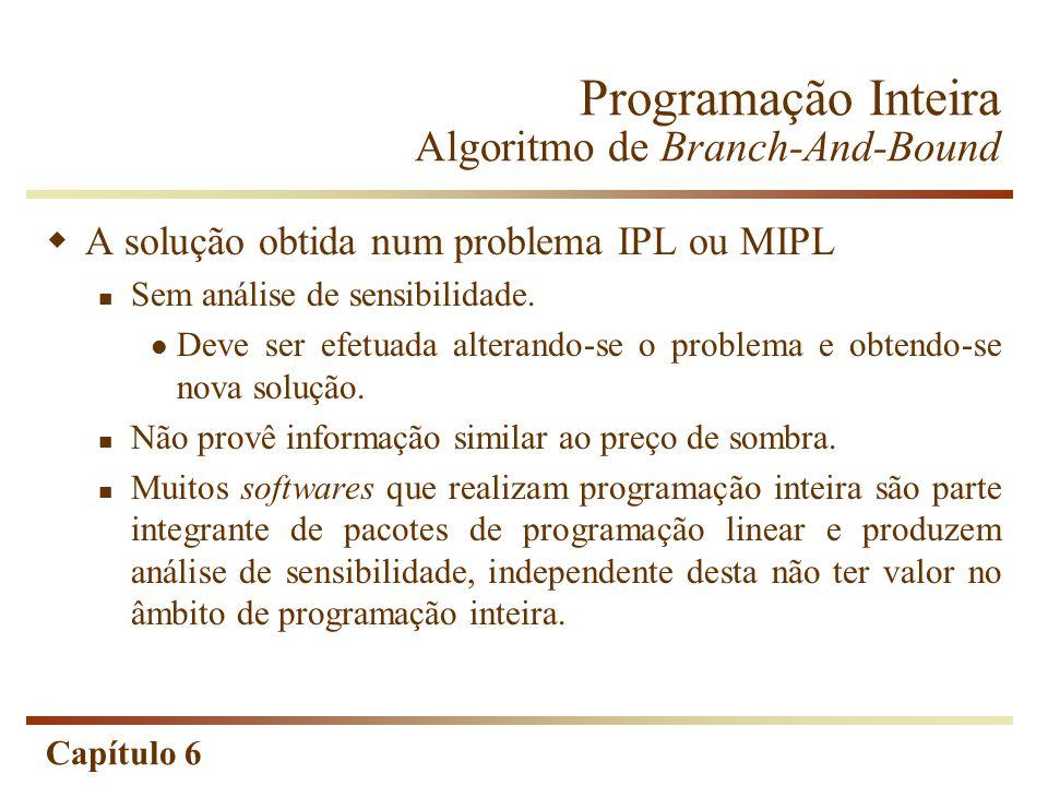 Capítulo 6 A solução obtida num problema IPL ou MIPL Sem análise de sensibilidade. Deve ser efetuada alterando-se o problema e obtendo-se nova solução