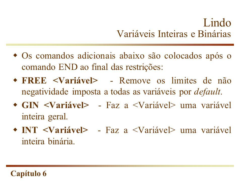 Capítulo 6 Lindo Variáveis Inteiras e Binárias Os comandos adicionais abaixo são colocados após o comando END ao final das restrições: FREE - Remove o