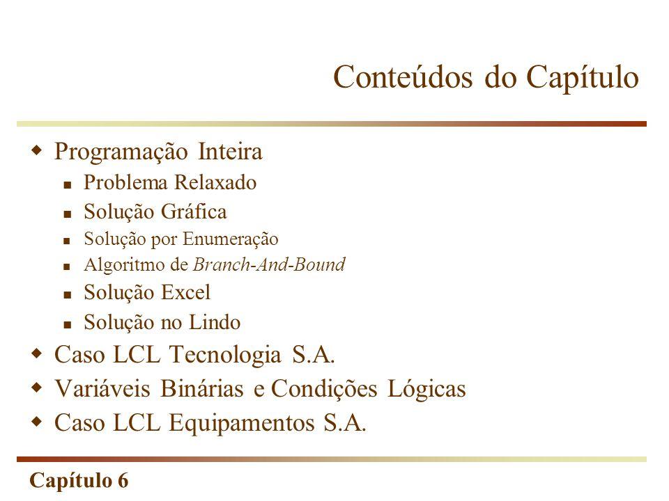 Capítulo 6 Algoritmo de Branch-And-Bound é mais utilizado atualmente para resolução de problemas do tipo ILP ou MILP.