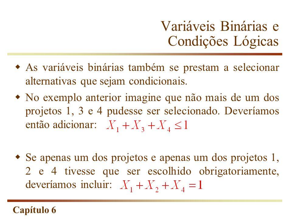 Capítulo 6 Variáveis Binárias e Condições Lógicas As variáveis binárias também se prestam a selecionar alternativas que sejam condicionais. No exemplo