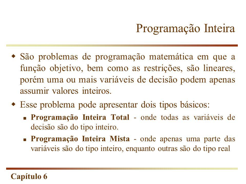 Capítulo 6 Programação Inteira São problemas de programação matemática em que a função objetivo, bem como as restrições, são lineares, porém uma ou mais variáveis de decisão podem apenas assumir valores inteiros.