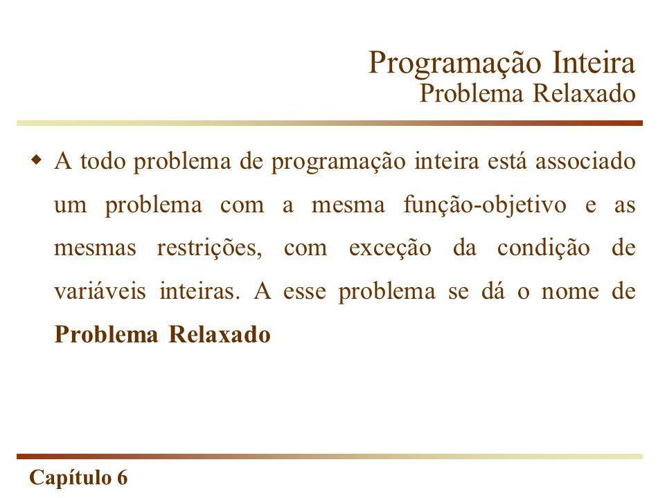 Capítulo 6 Programação Inteira Problema Relaxado A todo problema de programação inteira está associado um problema com a mesma função-objetivo e as me