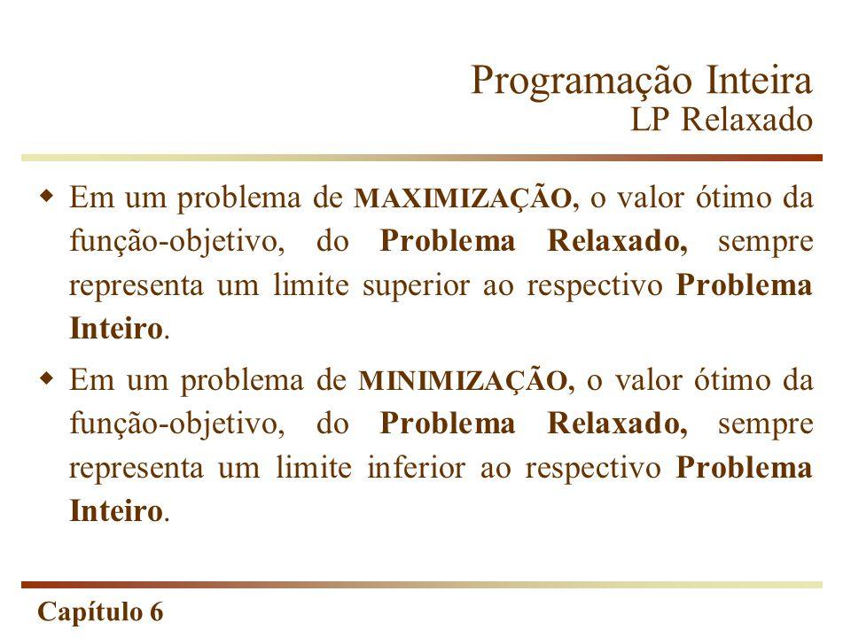 Capítulo 6 Programação Inteira LP Relaxado Em um problema de MAXIMIZAÇÃO, o valor ótimo da função-objetivo, do Problema Relaxado, sempre representa um