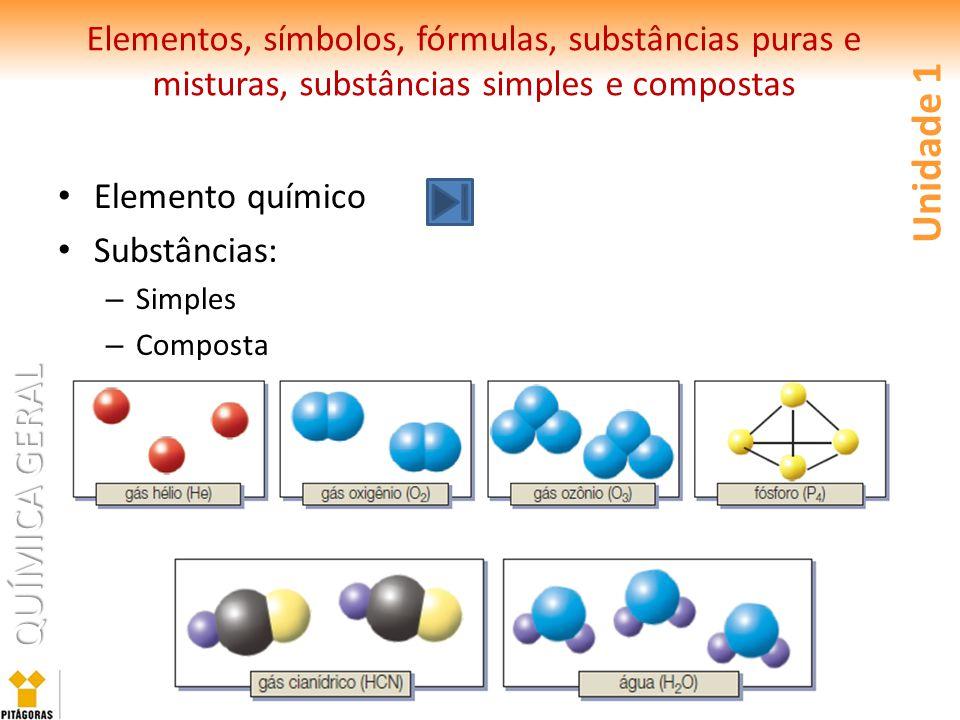 QUÍMICA GERAL Elementos, símbolos, fórmulas, substâncias puras e misturas, substâncias simples e compostas Elemento químico Substâncias: – Simples – Composta Unidade 1