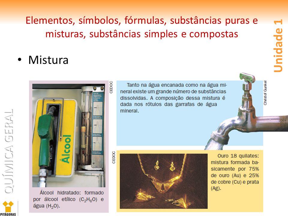 QUÍMICA GERAL Mistura Unidade 1 Elementos, símbolos, fórmulas, substâncias puras e misturas, substâncias simples e compostas