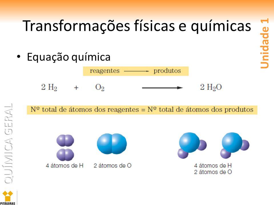 QUÍMICA GERAL Equação química Unidade 1 Transformações físicas e químicas