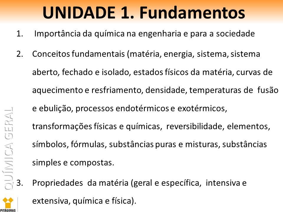 QUÍMICA GERAL UNIDADE 1. Fundamentos 1. Importância da química na engenharia e para a sociedade 2.Conceitos fundamentais (matéria, energia, sistema, s