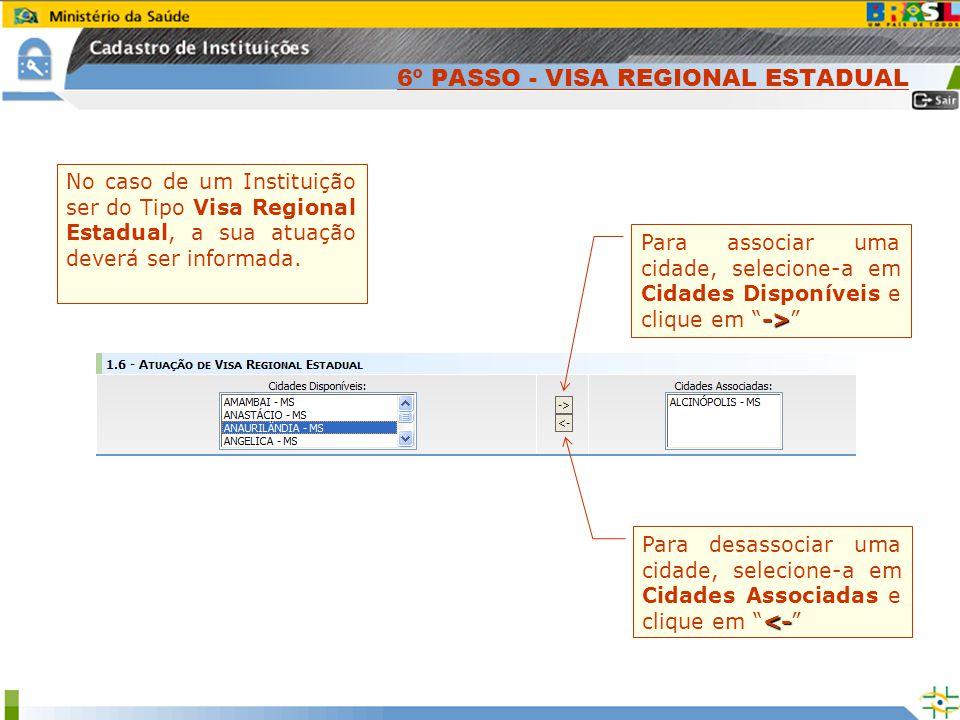 No caso de um Instituição ser do Tipo Visa Regional Estadual, a sua atuação deverá ser informada. -> Para associar uma cidade, selecione-a em Cidades