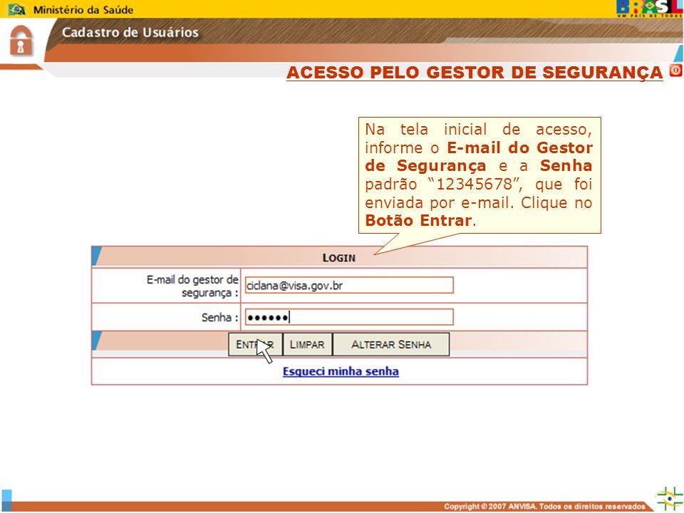 Na tela inicial de acesso, informe o E-mail do Gestor de Segurança e a Senha padrão 12345678, que foi enviada por e-mail. Clique no Botão Entrar. ACES