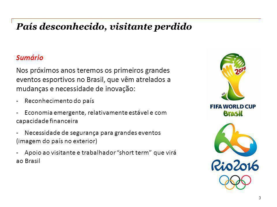 País desconhecido, visitante perdido Sumário Nos próximos anos teremos os primeiros grandes eventos esportivos no Brasil, que vêm atrelados a mudanças