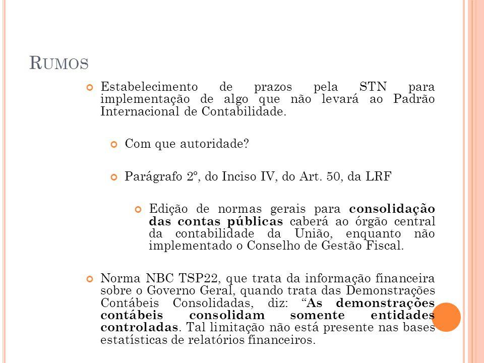 R UMOS Estabelecimento de prazos pela STN para implementação de algo que não levará ao Padrão Internacional de Contabilidade. Com que autoridade? Pará