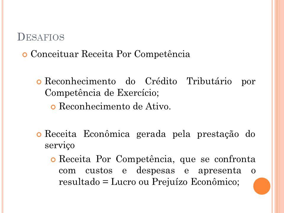 D ESAFIOS Conceituar Receita Por Competência Reconhecimento do Crédito Tributário por Competência de Exercício; Reconhecimento de Ativo. Receita Econô