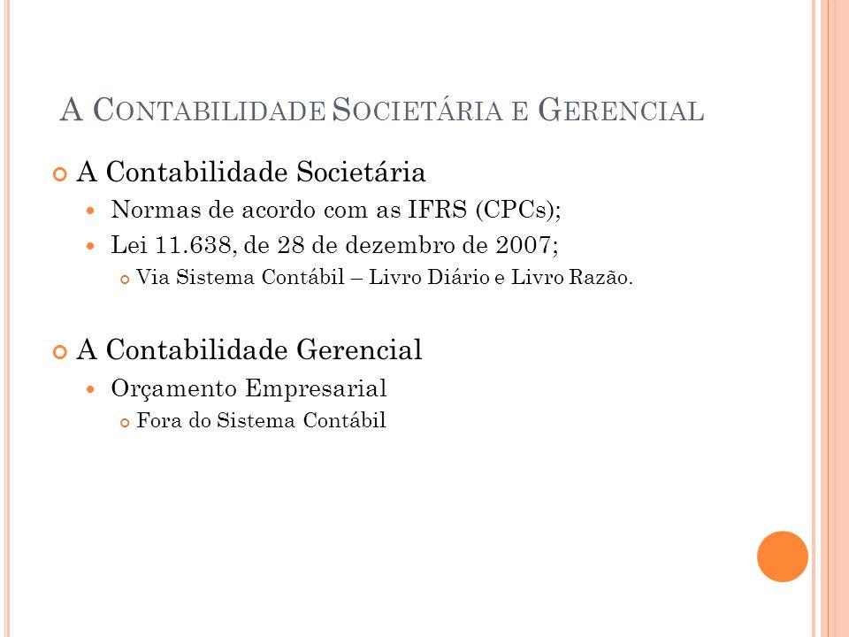 A C ONTABILIDADE S OCIETÁRIA E G ERENCIAL A Contabilidade Societária Normas de acordo com as IFRS (CPCs); Lei 11.638, de 28 de dezembro de 2007; Via S