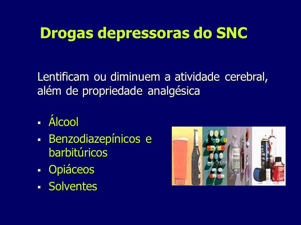 Drogas depressoras do SNC Álcool Álcool Benzodiazepínicos e barbitúricos Benzodiazepínicos e barbitúricos Opiáceos Opiáceos Solventes Solventes Lentificam ou diminuem a atividade cerebral, além de propriedade analgésica
