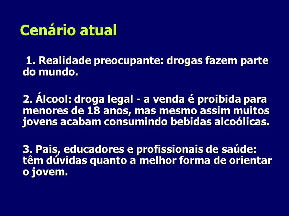 Cenário atual 1. Realidade preocupante: drogas fazem parte do mundo. 1. Realidade preocupante: drogas fazem parte do mundo. 2. Álcool: droga legal - a