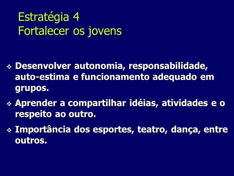 Estratégia 4 Fortalecer os jovens Desenvolver autonomia, responsabilidade, auto-estima e funcionamento adequado em grupos.