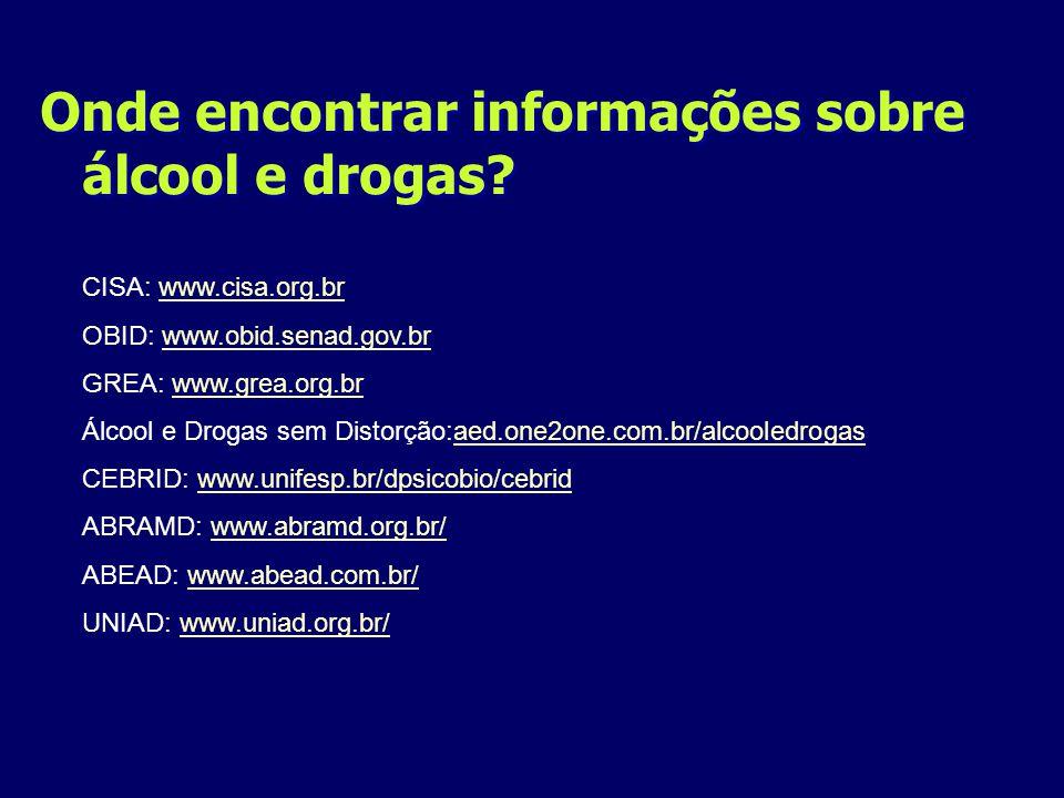 Onde encontrar informações sobre álcool e drogas? CISA: www.cisa.org.brwww.cisa.org.br OBID: www.obid.senad.gov.brwww.obid.senad.gov.br GREA: www.grea