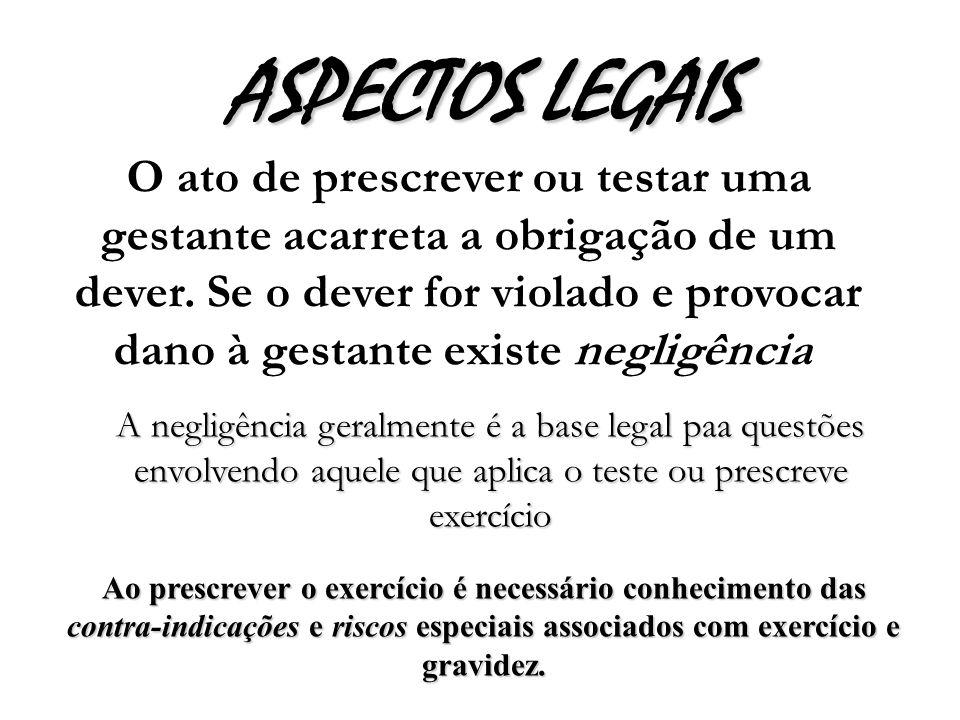ASPECTOS LEGAIS O ato de prescrever ou testar uma gestante acarreta a obrigação de um dever.