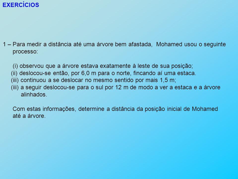 EXERCÍCIOS 1 – Para medir a distância até uma árvore bem afastada, Mohamed usou o seguinte processo: (i) observou que a árvore estava exatamente à les