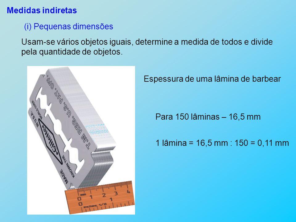 Medidas indiretas (i) Pequenas dimensões Usam-se vários objetos iguais, determine a medida de todos e divide pela quantidade de objetos. Espessura de