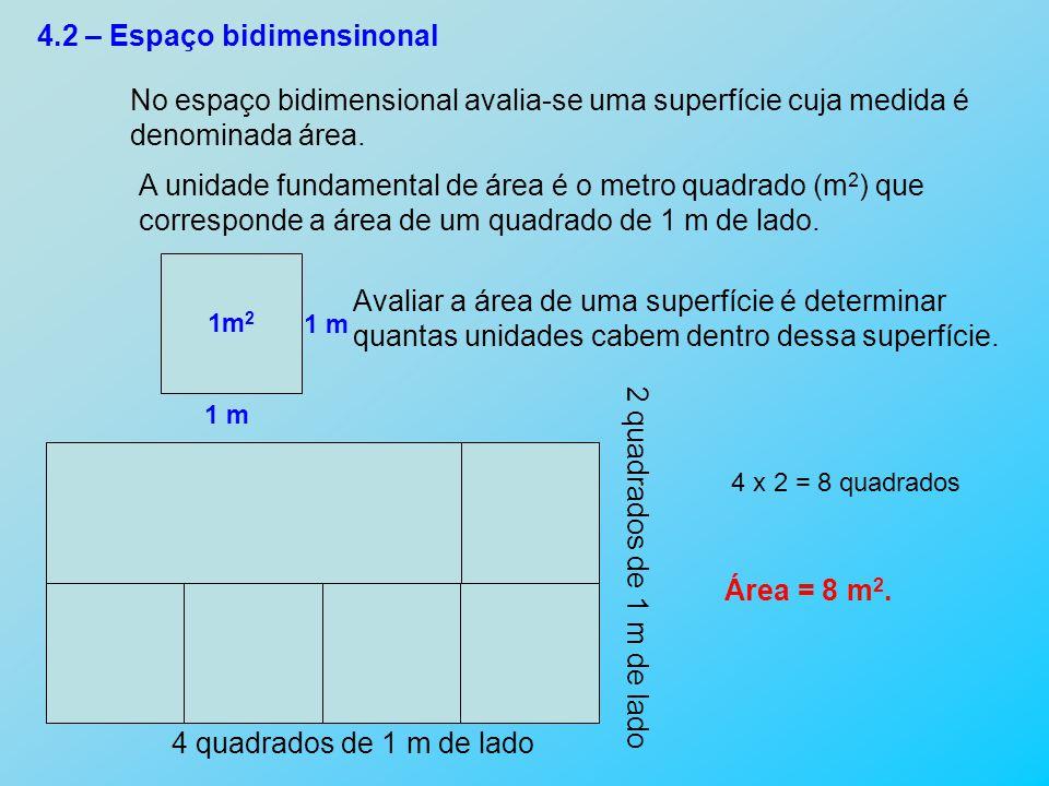 4.2 – Espaço bidimensinonal No espaço bidimensional avalia-se uma superfície cuja medida é denominada área. A unidade fundamental de área é o metro qu