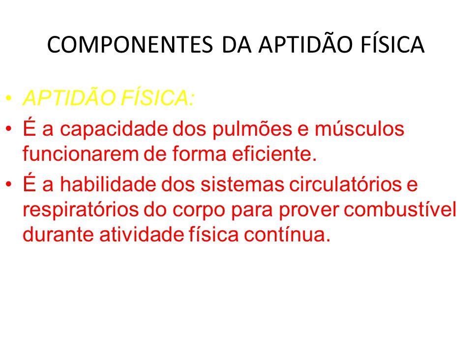 COMPONENTES DA APTIDÃO FÍSICA APTIDÃO FÍSICA: É a capacidade dos pulmões e músculos funcionarem de forma eficiente.