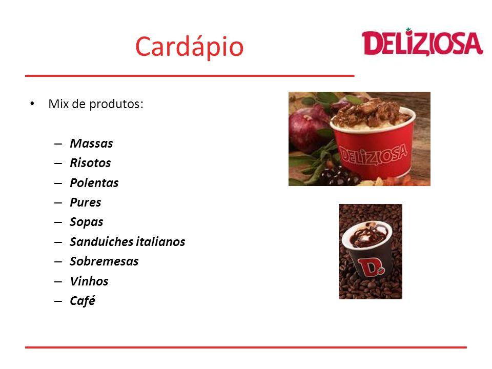 Cardápio Mix de produtos: – Massas – Risotos – Polentas – Pures – Sopas – Sanduiches italianos – Sobremesas – Vinhos – Café