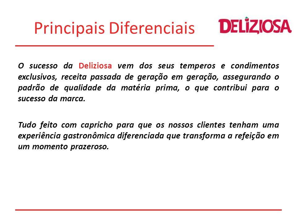 Principais Diferenciais O sucesso da Deliziosa vem dos seus temperos e condimentos exclusivos, receita passada de geração em geração, assegurando o padrão de qualidade da matéria prima, o que contribui para o sucesso da marca.