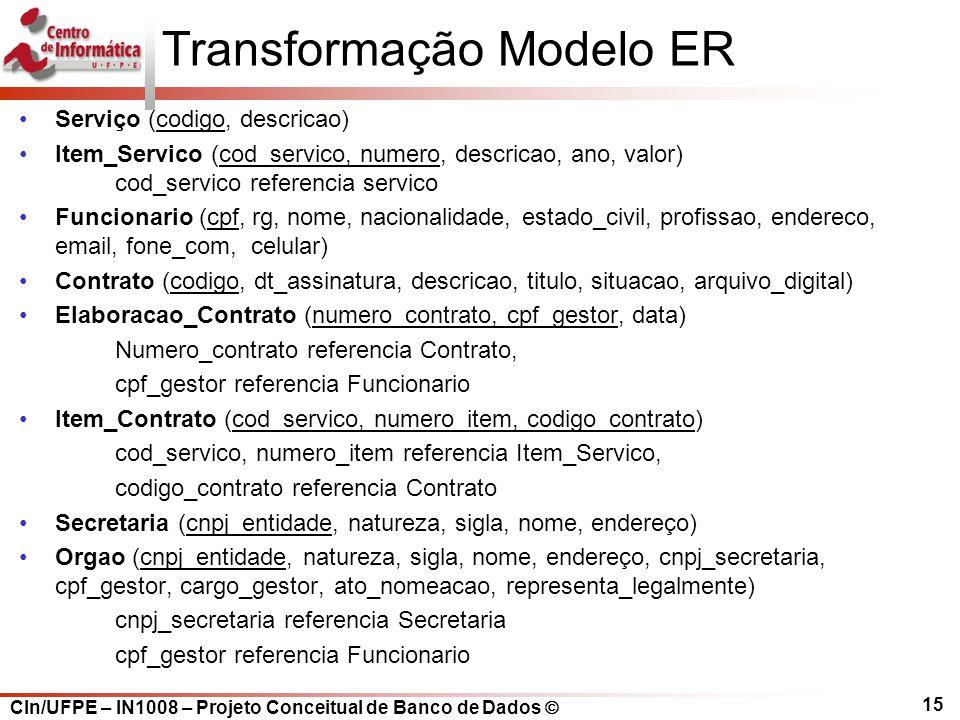 CIn/UFPE – IN1008 – Projeto Conceitual de Banco de Dados Transformação Modelo ER Serviço (codigo, descricao) Item_Servico (cod_servico, numero, descri