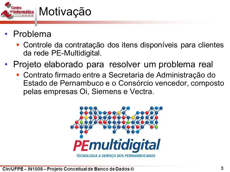 CIn/UFPE – IN1008 – Projeto Conceitual de Banco de Dados 3 Motivação Problema C ontrole da contratação dos itens disponíveis para clientes da rede PE-