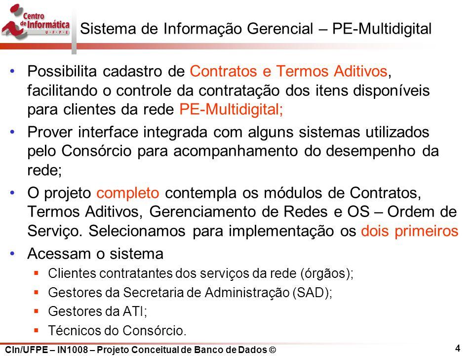 CIn/UFPE – IN1008 – Projeto Conceitual de Banco de Dados Sistema de Informação Gerencial – PE-Multidigital Possibilita cadastro de Contratos e Termos