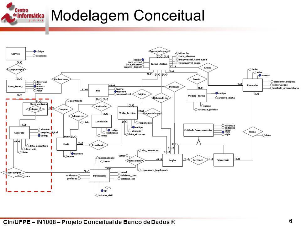 CIn/UFPE – IN1008 – Projeto Conceitual de Banco de Dados Modelagem Conceitual 6