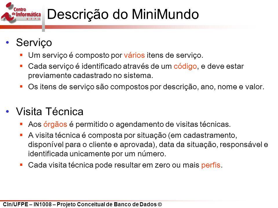 CIn/UFPE – IN1008 – Projeto Conceitual de Banco de Dados Descrição do MiniMundo Serviço Um serviço é composto por vários itens de serviço. Cada serviç