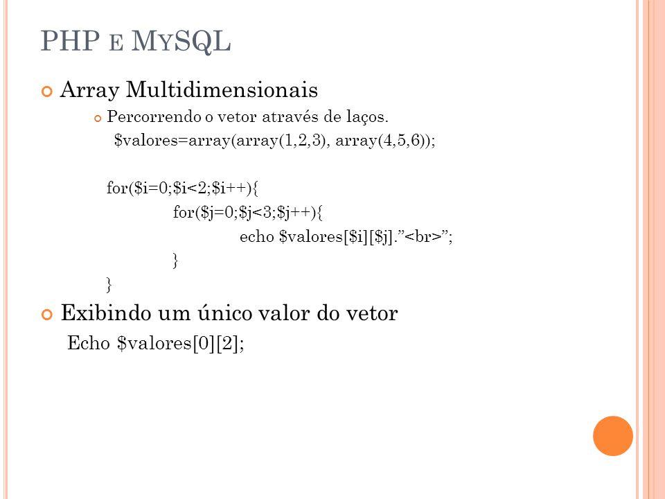 PHP E M Y SQL Array Multidimensionais Percorrendo o vetor através de laços. $valores=array(array(1,2,3), array(4,5,6)); for($i=0;$i<2;$i++){ for($j=0;