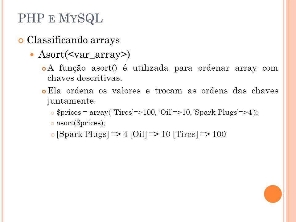 PHP E M Y SQL Classificando arrays Asort( ) A função asort() é utilizada para ordenar array com chaves descritivas. Ela ordena os valores e trocam as