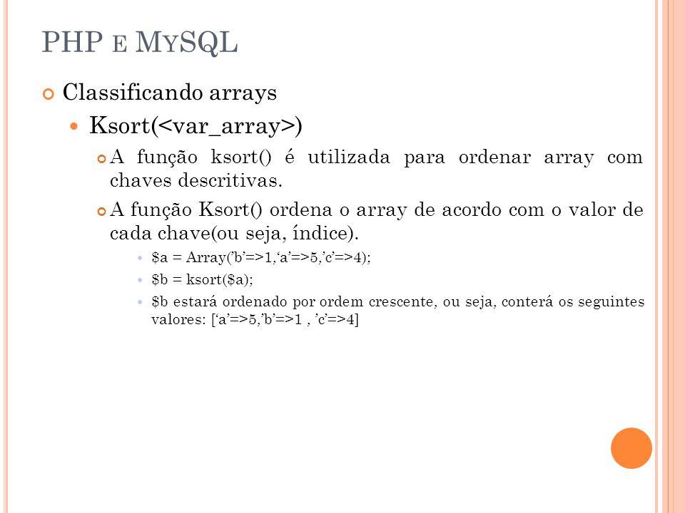 PHP E M Y SQL Classificando arrays Ksort( ) A função ksort() é utilizada para ordenar array com chaves descritivas. A função Ksort() ordena o array de