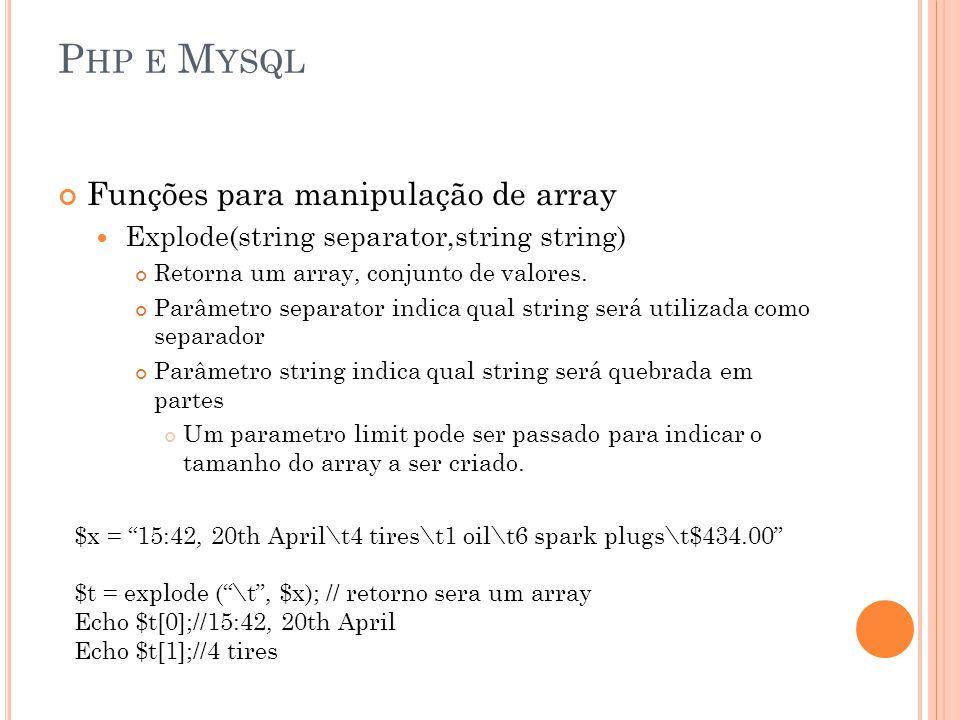 P HP E M YSQL Funções para manipulação de array Explode(string separator,string string) Retorna um array, conjunto de valores. Parâmetro separator ind