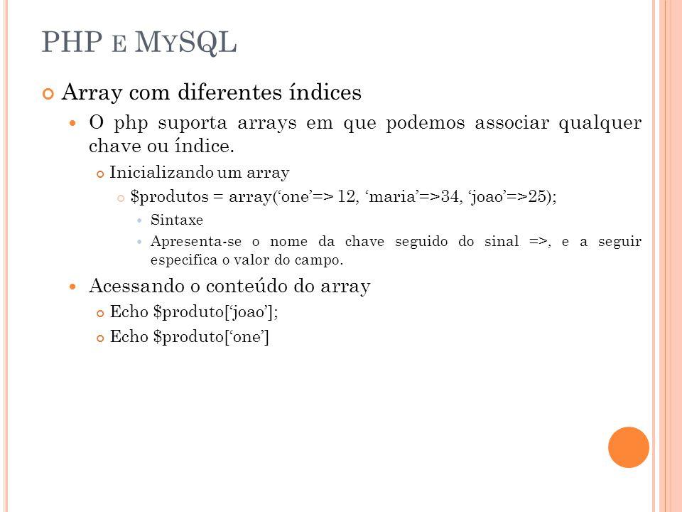 PHP E M Y SQL Formas de criar Array com diferentes índices $produtos = array(one=> 12); $produtos[joao] = 34; $produtos[maria] = 56; Usando loops para exibir o conteúdo do array.